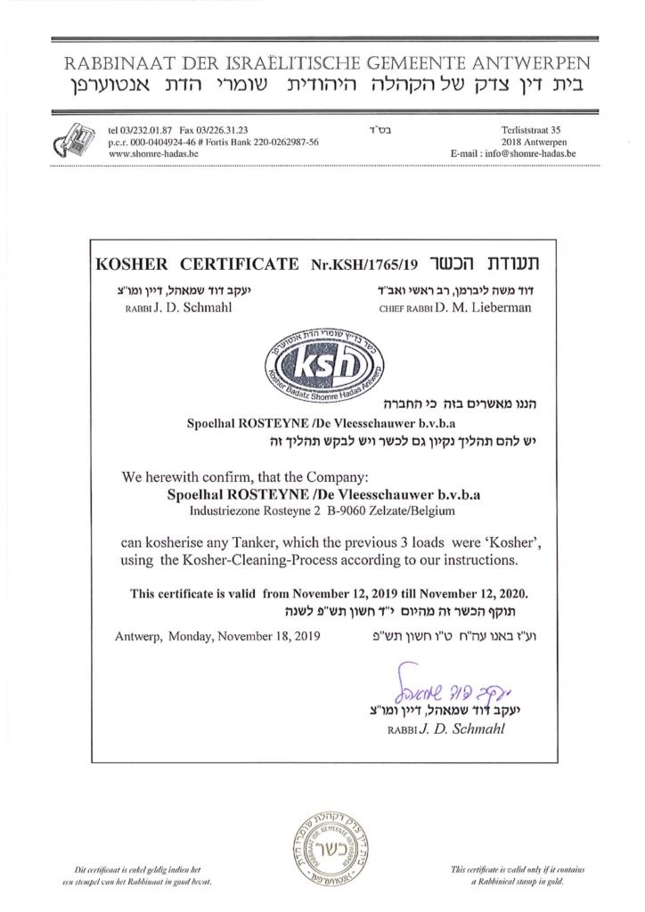 Kosher Certificate Nr. KSH/1765/19
