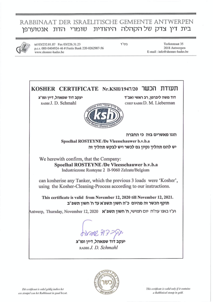 Kosher Certificate Nr. KSH/11947/20